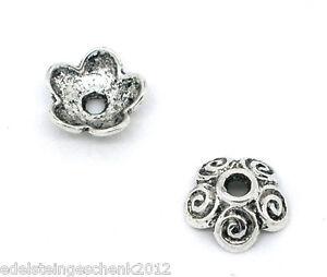 100-aelter-Silber-Blumen-Perlen-Beads-Ende-Kappen-10x4mm