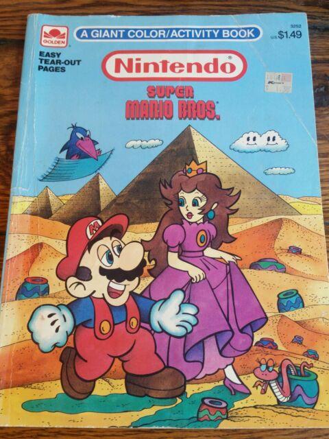 1989 Rare Vintage Nintendo Super Mario Bros Coloring Book Mario NES Golden  3252