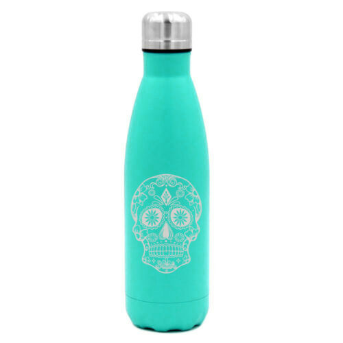 17 oz Double Wall Vacuum Insulated Stainless Water Bottle Sugar Candy Skull