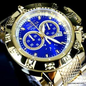 Invicta Subaqua Noma III High Polished Gold Plated Steel Swiss Blue Watch New