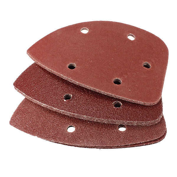 10Pcs Triangular Hook&Loop 60 80 120 Grit Sanding Kit Sandpaper Sand Paper 140mm