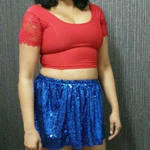 Mesdames rouge Crop Top Femme Femmes Filles Dentelle Manches Courtes Blouse Tank Tops