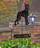 Boxer Dog Welcome Stake Solar Light Lantern Yard Garden Deck Patio Decor