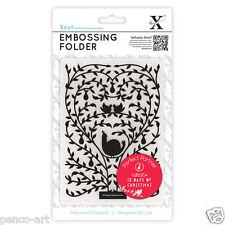 "Xcut A6 embossing folder 4x6"" 12 twelve days of Christmas tree Doves Partridge"