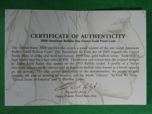 BA6 – COA ONLY $50 No Coin 2006 W American Gold Buffalo 1 oz Proof COA