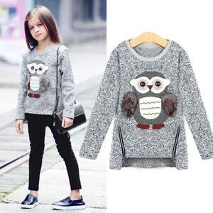 Casual Cotton Girls Winter Zipper Sweater Owl Pattern Autumn