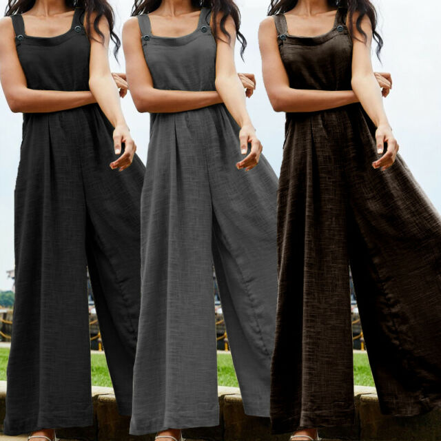 Womens Off The Shoulder Wide-Leg Loose Romper Baggy Jumpsuits Rompers