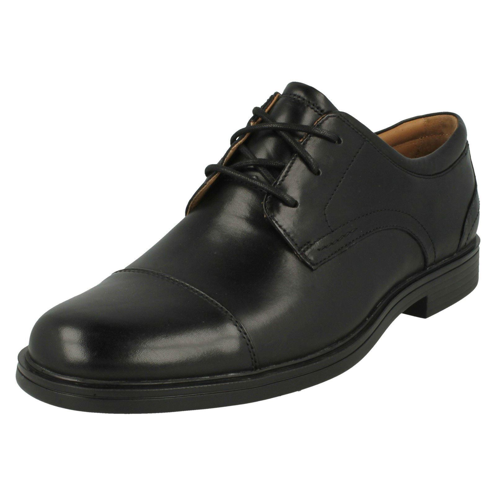 Mens Clarks Un Bldric Cap Black Leather Smart Lace Up Shoes G Fitting