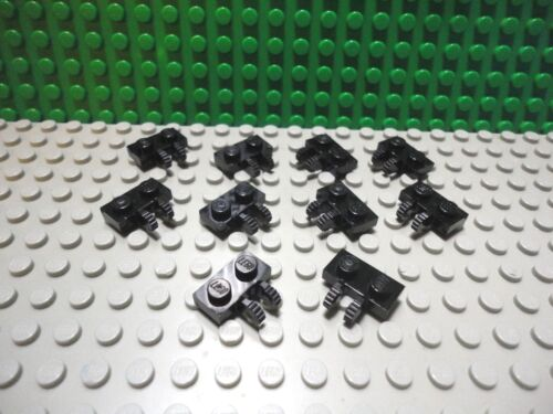 Lego 10 Black 1x2 hinge plate with 2 side locking fingers NEW