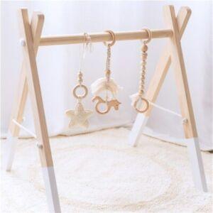Hetre-Bois-Licorne-Crochet-Star-Pompons-Bebe-Dentition-Play-Gym-poussette-jouet-Set