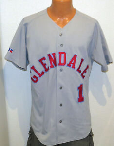 vtg-GLENDALE-1-Gray-BASEBALL-GAME-Jersey-LARGE-Russell-Athletic-80s-90s-L-team