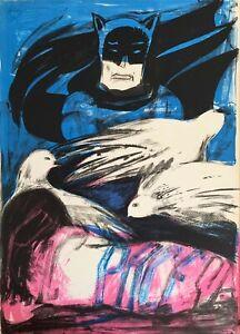 Sarai-Sherman-litografia-1969-Colombe-pace-e-Batman-65x46-firmata-numerata