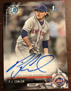 P.J. PJ Conlon 2017 Bowman Chrome 1st Auto Rookie Card #CPA-PC New York Mets