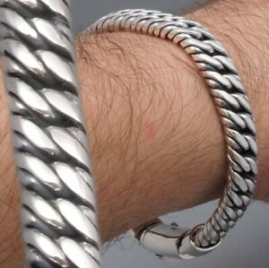 HEAVY-DOUBLE-CURB-LINK-CHAIN-925-STERLING-SILVER-MENS-BRACELET-8-8-5-9-9-5-10-034