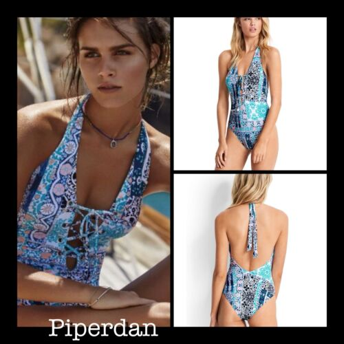 NWT $170  SEAFOLLY  US 8    LACE UP  SILK MARKET  MAILLOT  ONE PIECE