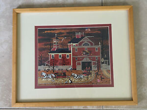 Vintage-Charles-Wysocki-Print-Fire-Firehouse-Framed-Matted-RARE