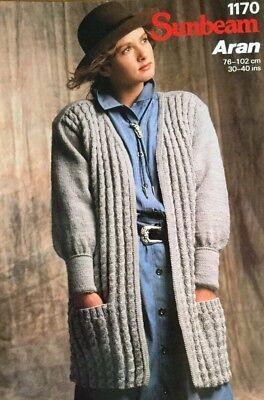 "Sunbeam Aran Knitting Pattern Ladies Cardigan Jacket Size 30//40/"""