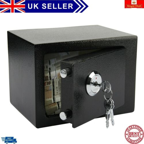 Strong Steel Safe Security Key Fireproof HOME OFFICE MONEY CASH SAFETY BOX BLACK