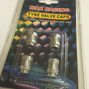 4-x-Max-Racing-Car-Van-amp-Bike-Alloy-Wheel-Tyre-Valve-Cover-Dust-Caps-Silver