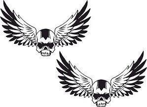 2x Skull Flügel Aufkleber Totenkopf Motorrad WOHNWAGEN Helm Bike Schädel #32