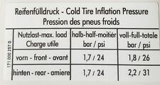 VW MK1 GOLF GTI S1 FUEL FLAP TYRE PRESSURE STICKER 171 000 257 D