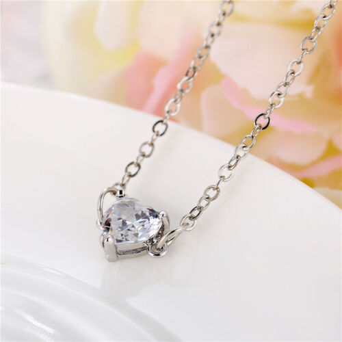 Cute Love Heart Pendant Necklace Simple Collar Choker Chain Women Charm Jewelry