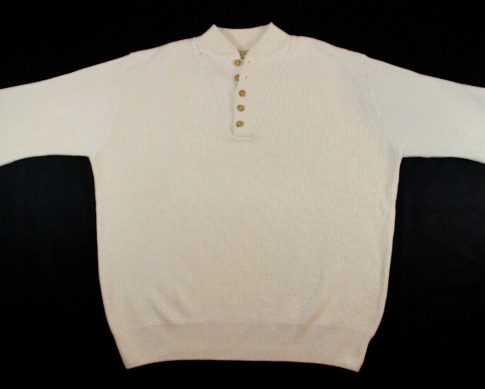Vintage L.L. BEAN Cable Knit Off White Cotton Sweater - Men's XL Long - USA Made