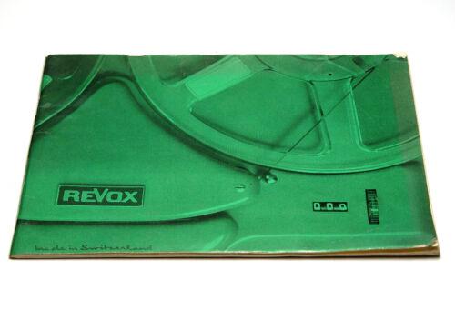 Französische Original Anleitung / Mode d'emploi f. Revox F36 Röhren-Tonbandgerät
