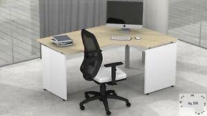 Dettagli su FUMU SF019 NET Scrivania ufficio angolare struttura pannellata  L.160/120-80/60