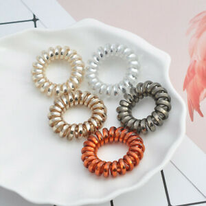 5pcs Women Flower Solid Elastic Hair Bands Ponytail Holder Scrunchies Beads Tie Hair Rubber Band Headband Lady Hair Accessories Apparel Accessories