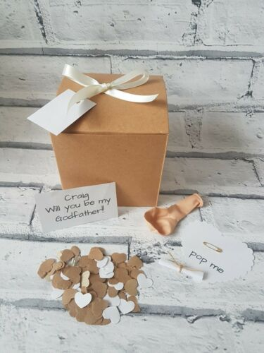 pop the balloon Will you be my Godfather personalised message christening,