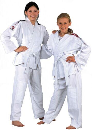 Kinder Judoanzug mit Gürtel Gr 80 90 100 120cm von DANRHO rote Schulterstreifen