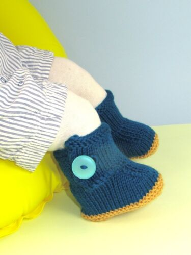 PRINTED INSTRUCTIONS-BABY  ONE BUTTON BOOTIES  BOOTEES BOOTS KNITTING PATTERN