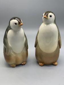 2 Lomonosov PENGUIN Mr & Mrs Figurine Vintage Made in Russia USSR Porcelain
