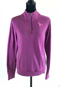 7fad4168aa90f Details about Victoria's Secret PINK Women's Purple Pullover Half Zip  Hoodie Sweater Medium