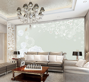 3D Inflorescence White Paint Paper Wall Print Wall Decal Wall Deco Indoor Murals