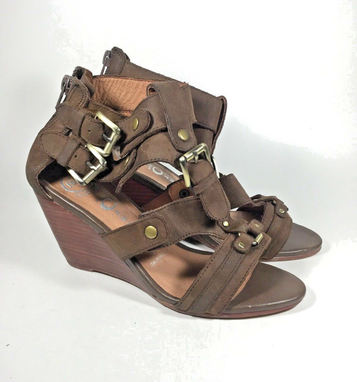 M3582L PreOwned Women's Jeffrey Campbell Handmade Ibiza Brown Wedge US 6.5