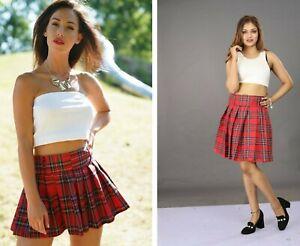 Red Tartan Mini Skirt Women/'s Short Check Plaid Pleated 18Inch High Waist