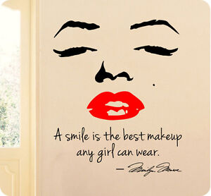A Smile Is Best Makeup Any Girl Can Wear Marilyn Monroe Wall Decal