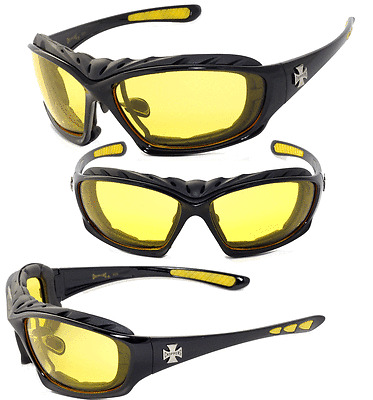 Night Driving Riding Padded Motorcycle Glasses 901 Black Frame with Yellow Lense