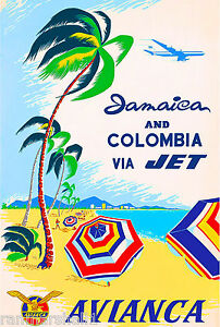 Jamaica Colombia Island Beach Caribbean Vintage Travel Advertisement Art Poster