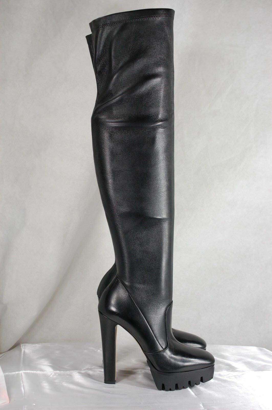SUPER SEXY   SILLA LE SILLA   BLACK SOFT LEATHER STRETCH OVER THE KNEE Stiefel EU 37 US 7 b9f4f0