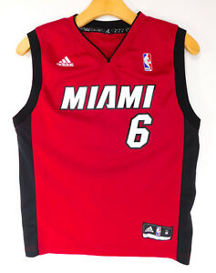 finest selection 05327 058ef ADIDAS MIAMI HEAT LEBRON JAMES #6 JERSEY Red NBA Team Logo ...