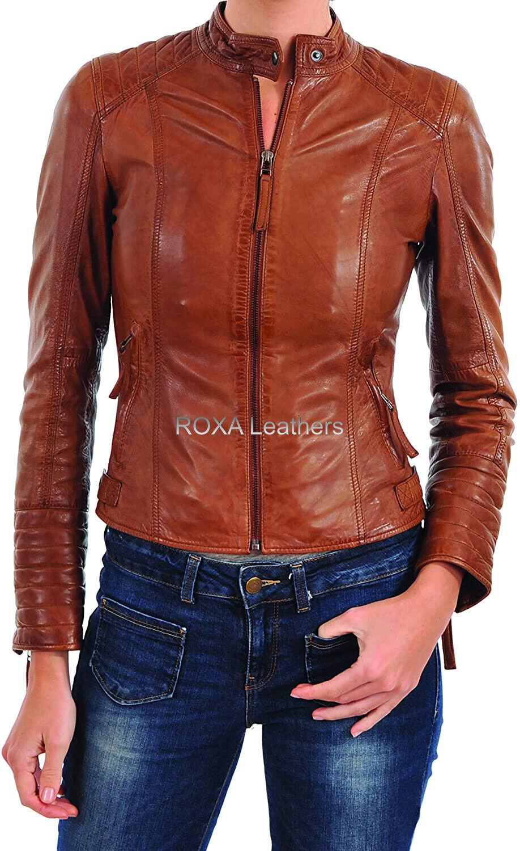 ROXA Premium Women Casual Genuine NAPA Natural Leather Jacket Outdoor Wear Coat