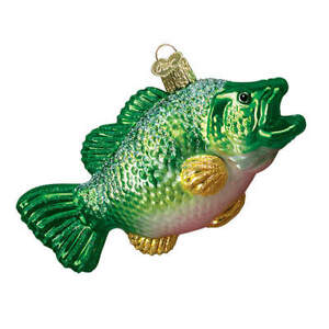 Old World Christmas LARGEMOUTH BASS (12097)N Glass Ornament w/OWC Box