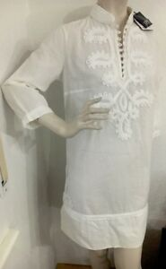 White Cotton con S etichetta Summer Dress 36 Nuovo Embroidery Tunic Esprit q6If6