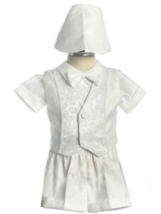 SIZES L- 4 YEAR Boys BABY Infant toddler Christening Baptism White Outfit Set