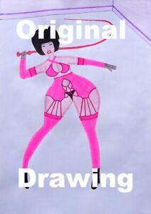 original drawing CRUELLA comic pin up art 104 mistress domina pinup