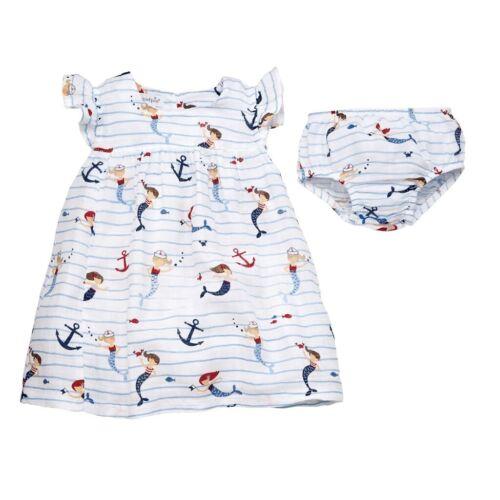 Mud Pie E9 Baby Girl Muslin Sail Away Coastal Mermaid Dress 15000033 Choose Size