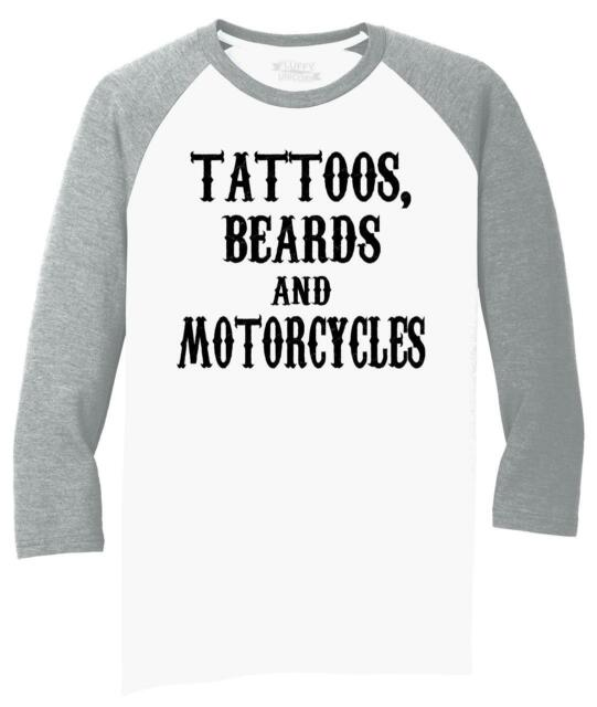 Womens Tattoos Beards and Motorcycles Biker T-Shirt ladies V-Neck top